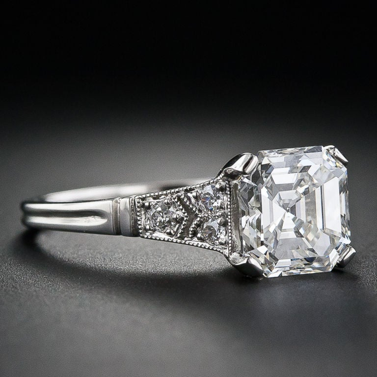 2.09 Carat Asscher Cut Diamond Solitaire Ring image 2