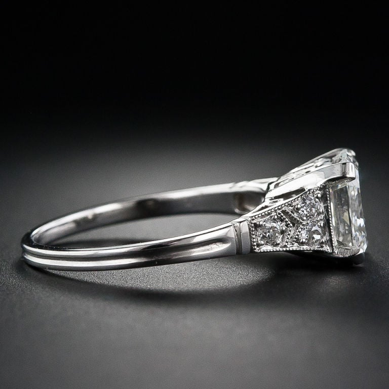 Contemporary 2.09 Carat Asscher Cut Diamond Solitaire Ring For Sale