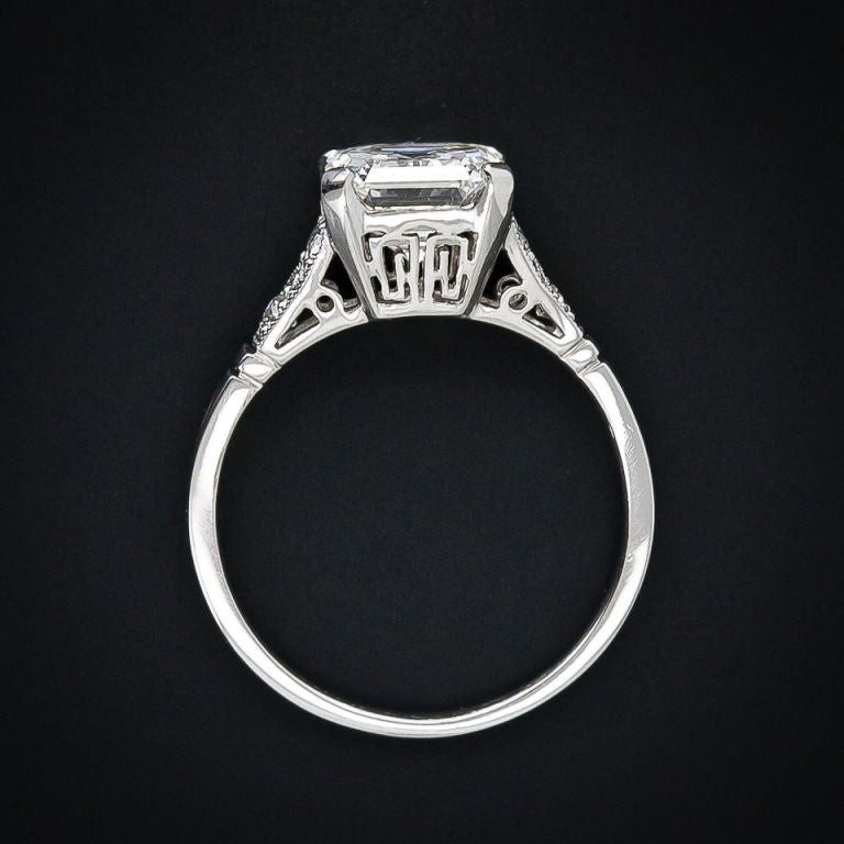 Women's 2.09 Carat Asscher Cut Diamond Solitaire Ring For Sale