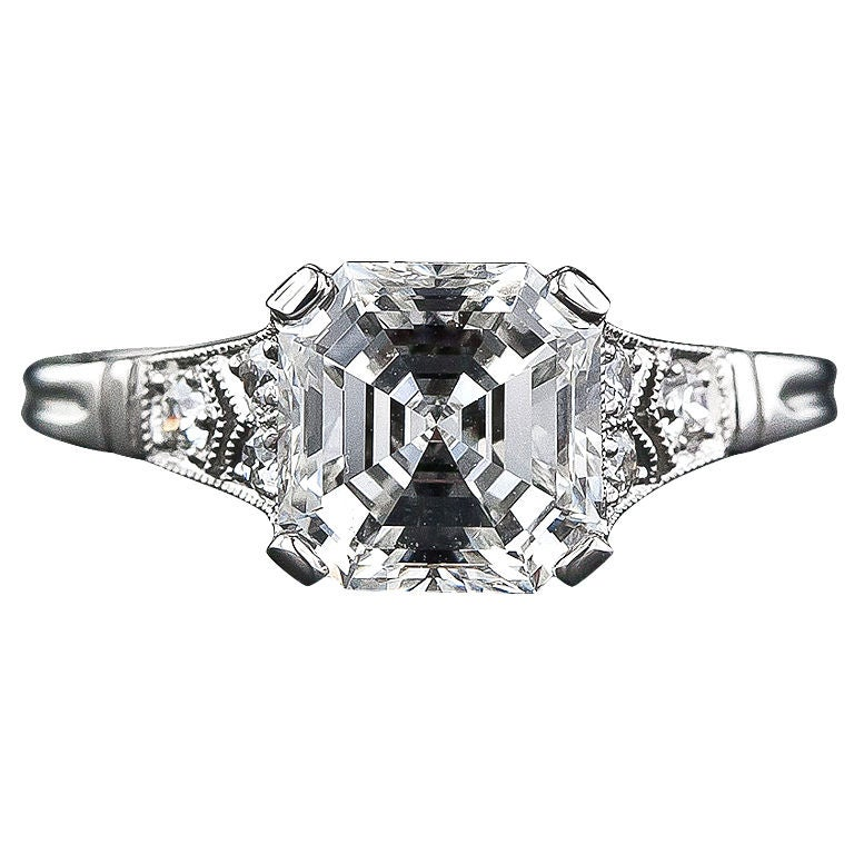 2.09 Carat Asscher Cut Diamond Solitaire Ring For Sale