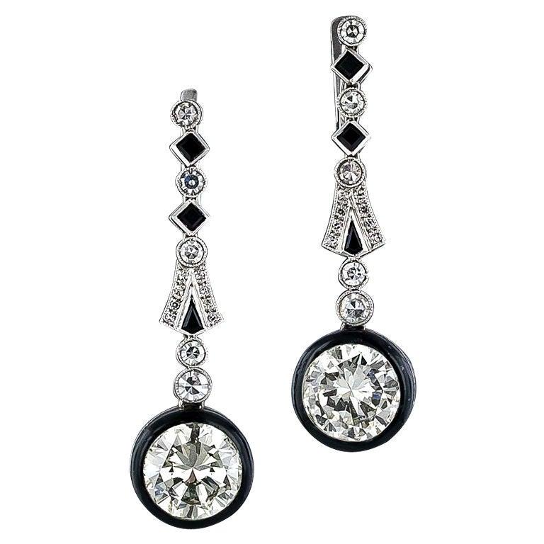 art deco black enamel diamond platinum drop earrings for sale at 1stdibs. Black Bedroom Furniture Sets. Home Design Ideas
