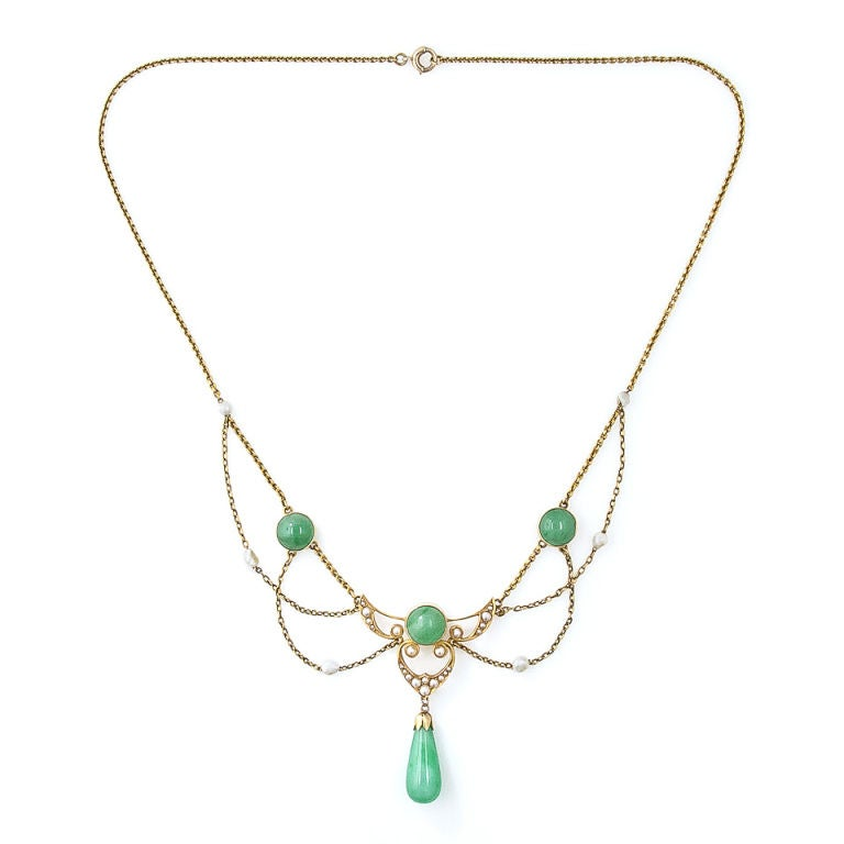 nouveau krementz jade and pearl necklace at 1stdibs