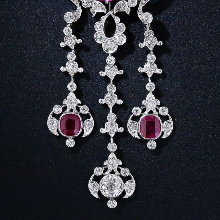 Edwardian Diamond and Ruby Necklace 3