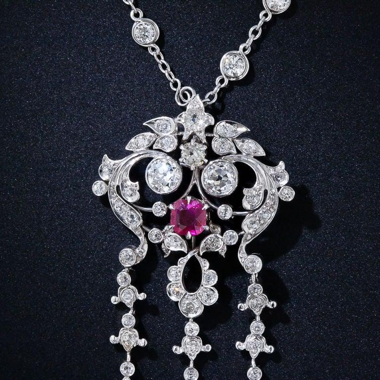 Edwardian Diamond and Ruby Necklace 4
