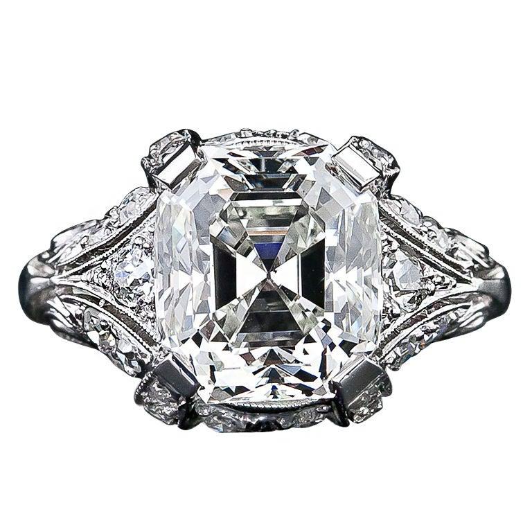 Vintage 5 32 Carat Asscher Cut Diamond Ring At 1stdibs