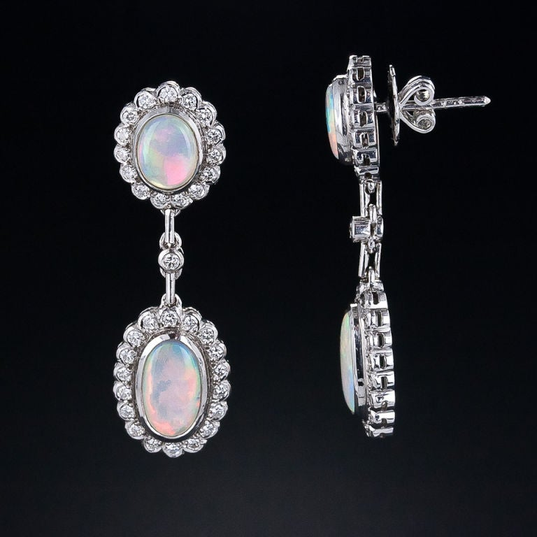 Estate Opal and Diamond Drop Earrings 2