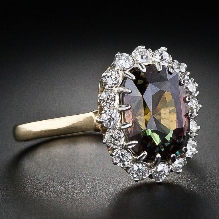 3.24 Carat Alexandrite and Diamond Ring image 2