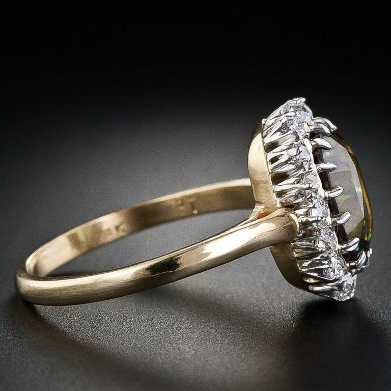 3.24 Carat Alexandrite and Diamond Ring image 3