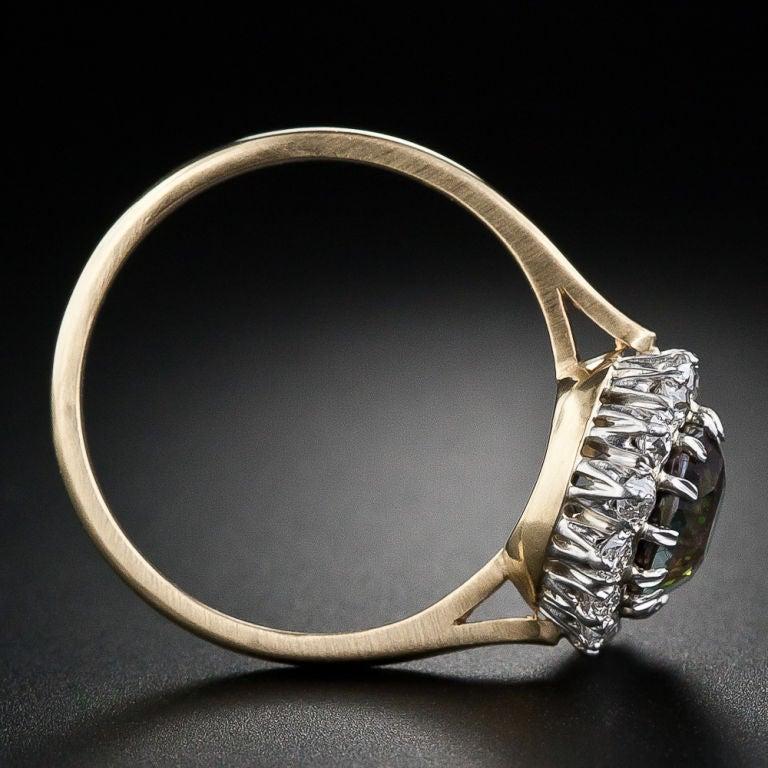 3.24 Carat Alexandrite and Diamond Ring image 4