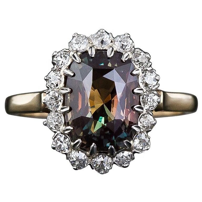 3.24 Carat Alexandrite and Diamond Ring