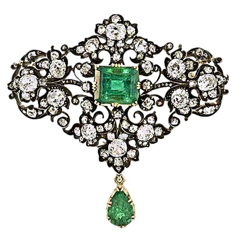 Victorian Emerald and Diamond Brooch 1