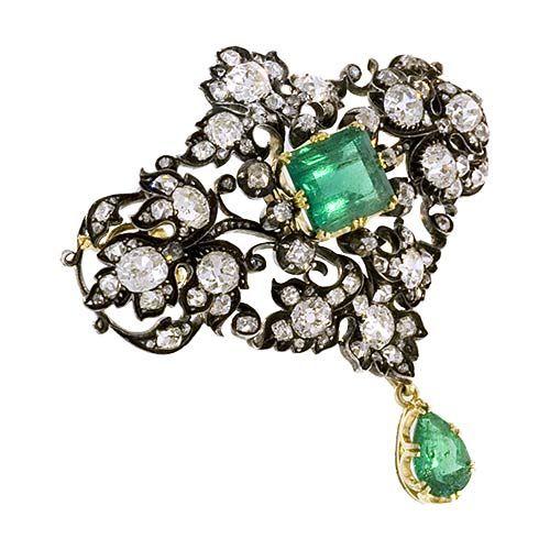 Victorian Emerald and Diamond Brooch 2