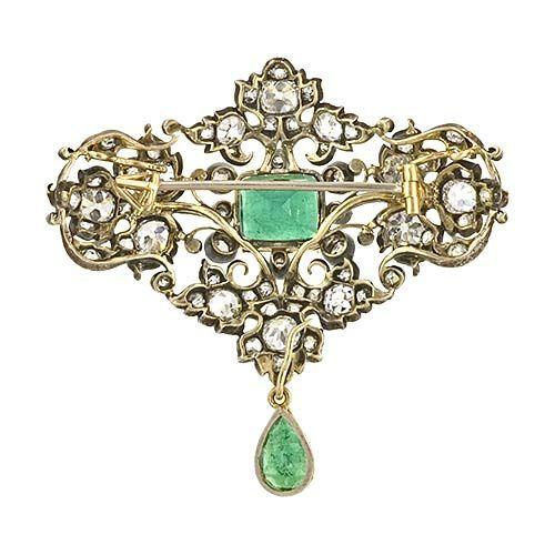 Victorian Emerald and Diamond Brooch 3