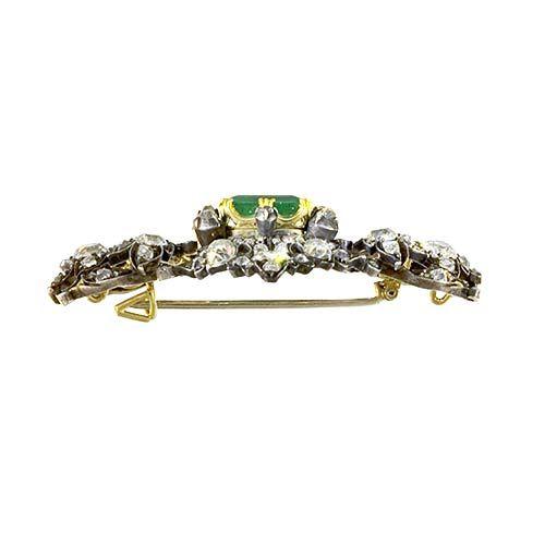 Victorian Emerald and Diamond Brooch 4
