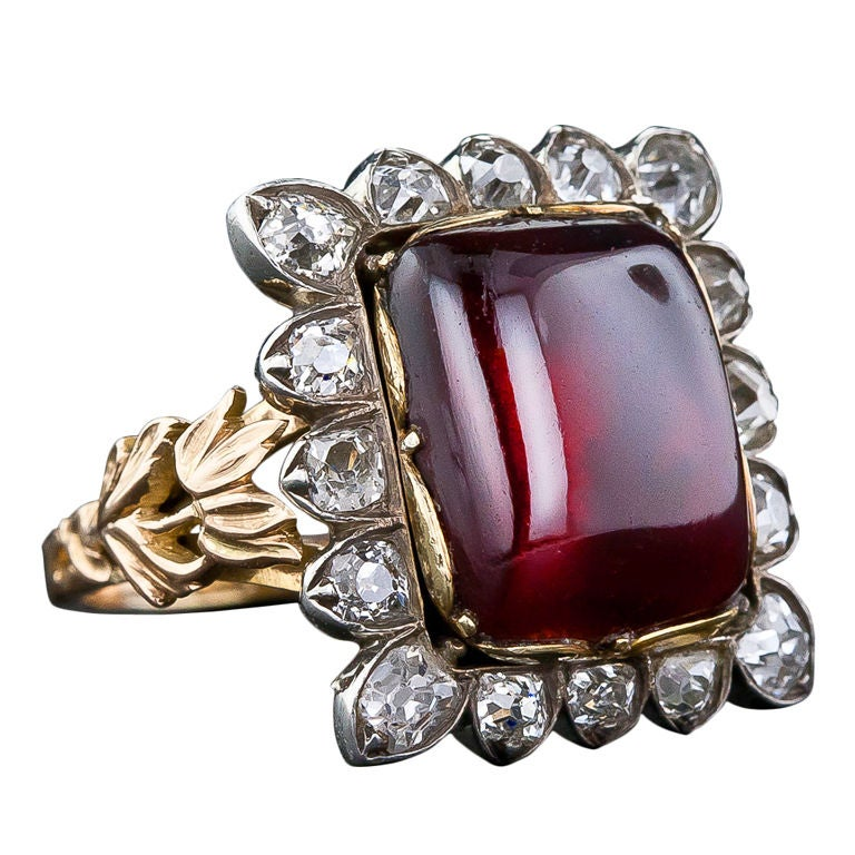 large antique garnet and ring at 1stdibs