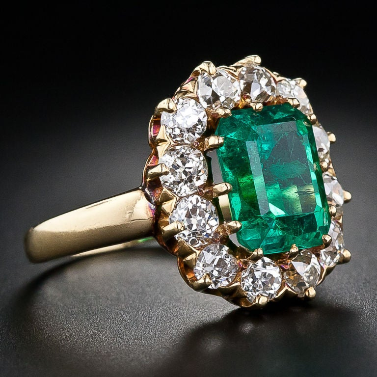 Victorian Colombian Muzo Mine Emerald Diamond Gold Ring 2