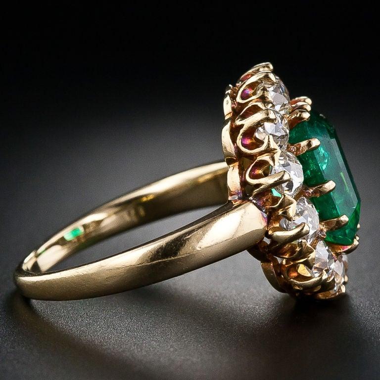 Victorian Colombian Muzo Mine Emerald Diamond Gold Ring 3