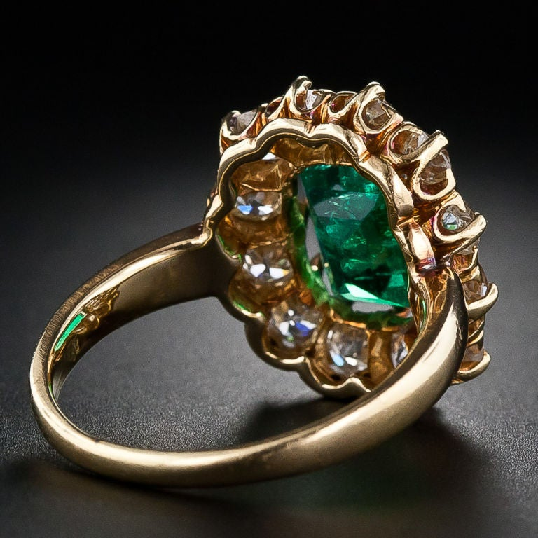 Victorian Colombian Muzo Mine Emerald Diamond Gold Ring 4