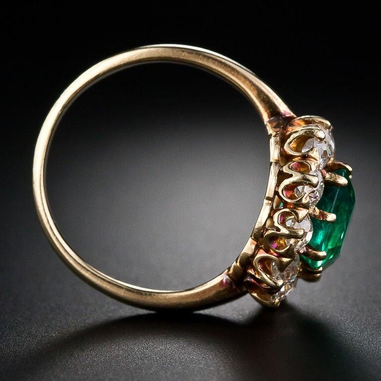 Victorian Colombian Muzo Mine Emerald Diamond Gold Ring 5
