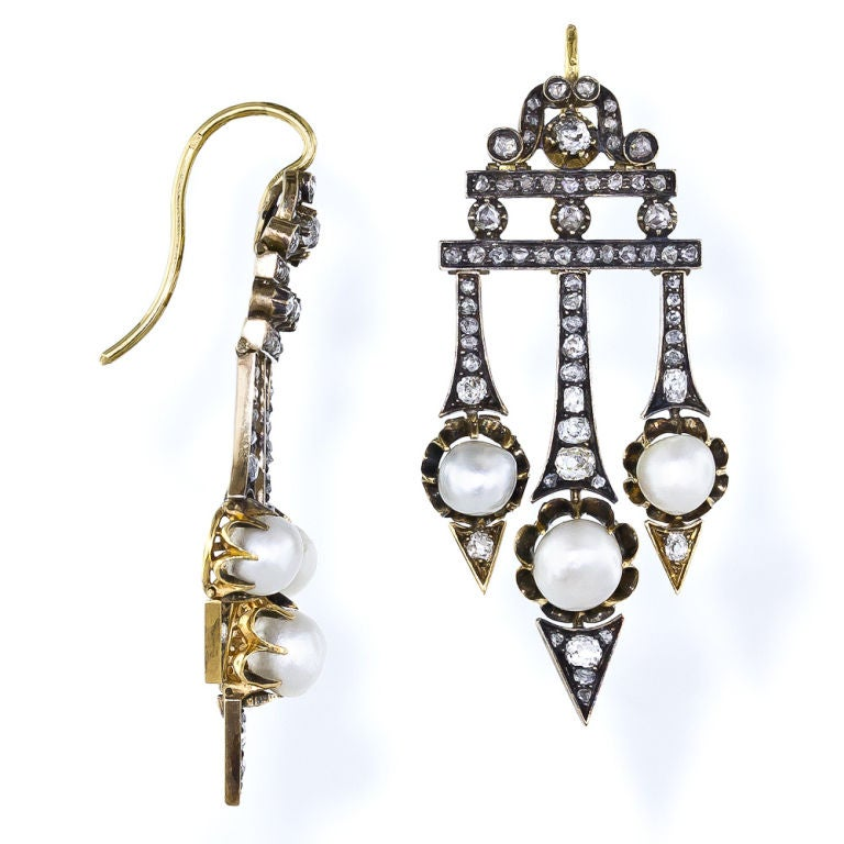 Victorian Diamond Natural Pearl Earrings 2