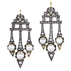 Victorian Diamond Natural Pearl Earrings