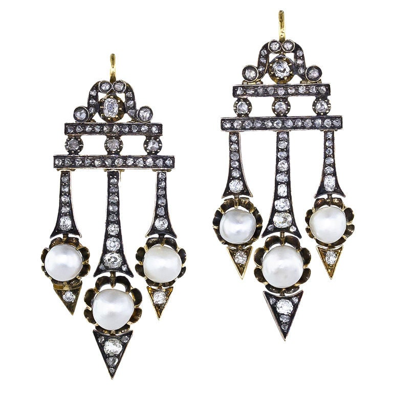 Victorian Diamond Natural Pearl Earrings 1