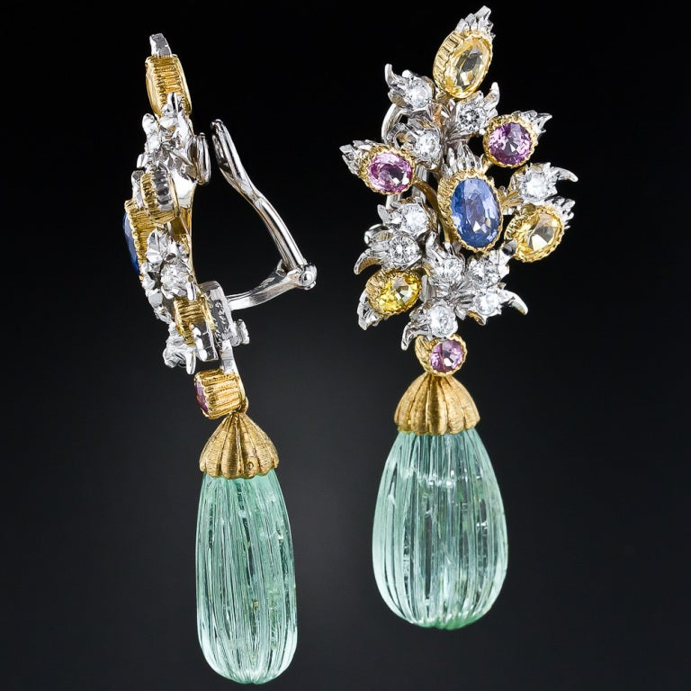 Buccellati Green Beryl Multi-Color Sapphire Diamond Gold Earrings 2