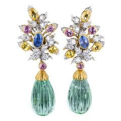Buccellati Green Beryl Multi-Color Sapphire Diamond Gold Earrings