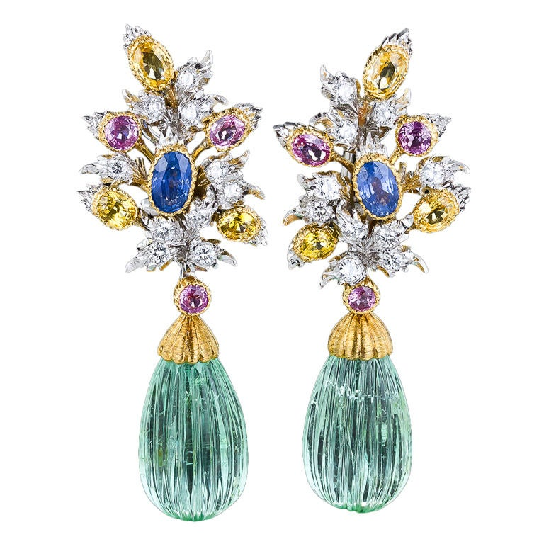 Buccellati Green Beryl Multi-Color Sapphire Diamond Gold Earrings 1