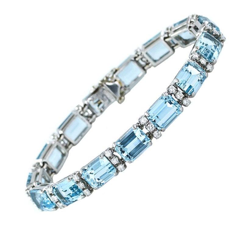 Aquamarine Diamond Platinum Line Bracelet At 1stdibs