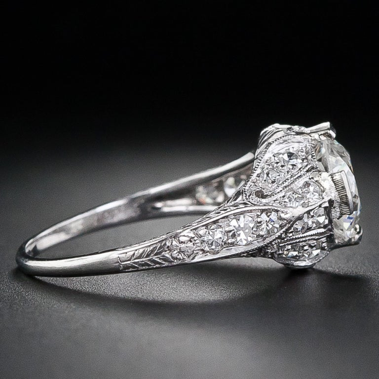 Edwardian 1.60 Carat Diamond Platinum Engagement Ring In Excellent Condition For Sale In San Francisco, CA