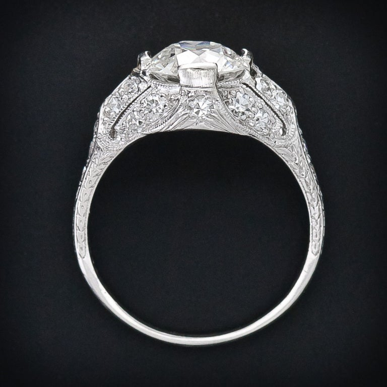 Women's Edwardian 1.60 Carat Diamond Platinum Engagement Ring For Sale