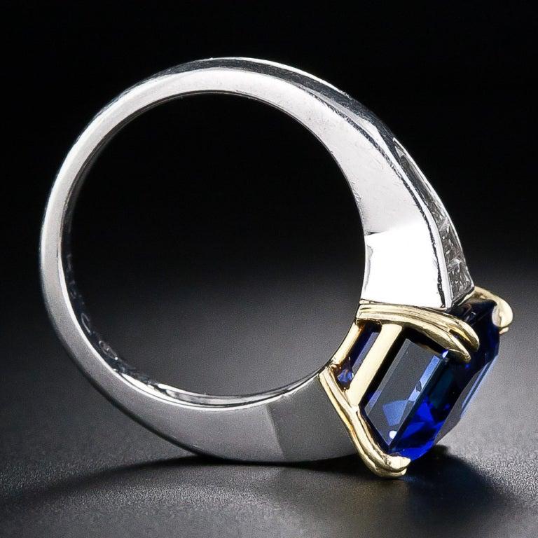 8 10 carat emerald cut sapphire and baguette ring
