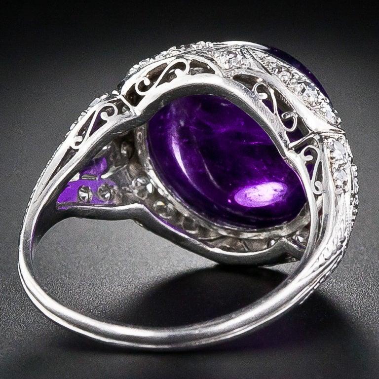 Edwardian Amethyst Cabochon Diamond Ring 4