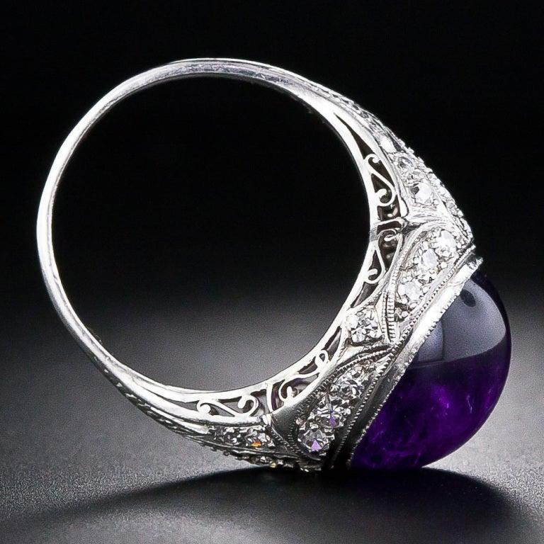 Edwardian Amethyst Cabochon Diamond Ring 5