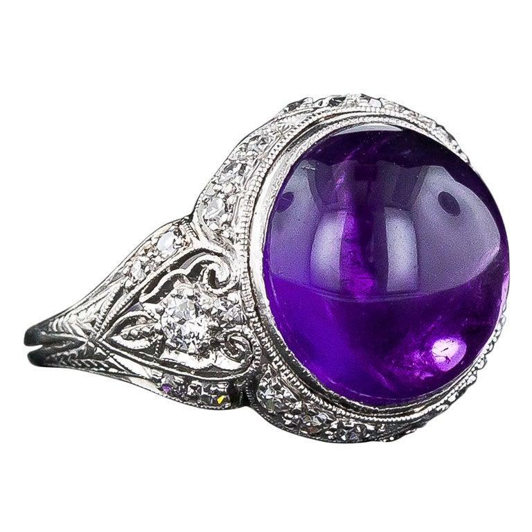 Edwardian Amethyst Cabochon Diamond Ring 1