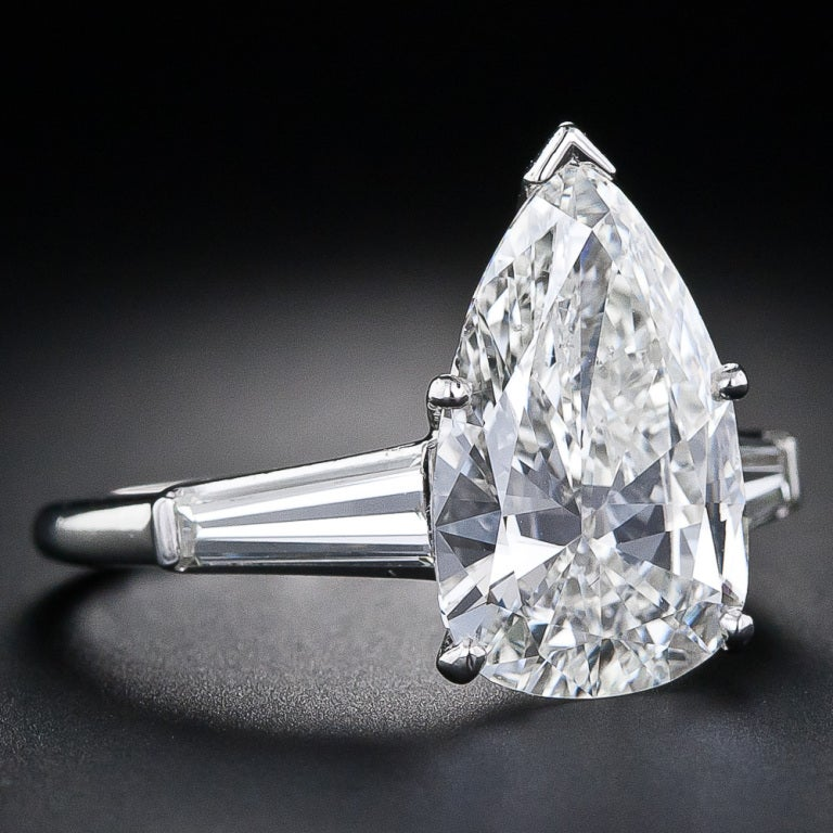 4.89 Carat Pear Shaped Diamond Solitaire Ring 2