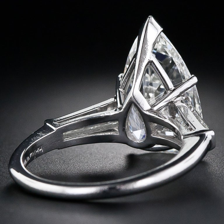 4.89 Carat Pear Shaped Diamond Solitaire Ring 4