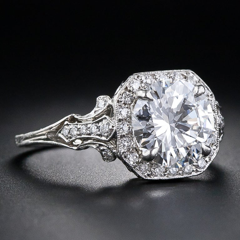 2.17 Carat D Color Diamond Edwardian Style Engagement Ring - GIA 2