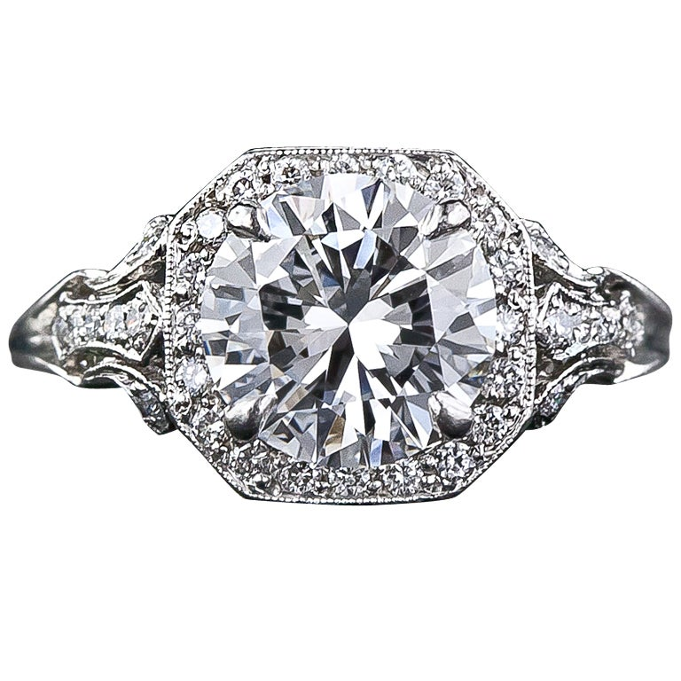 2.17 Carat D Color Diamond Edwardian Style Engagement Ring - GIA 1