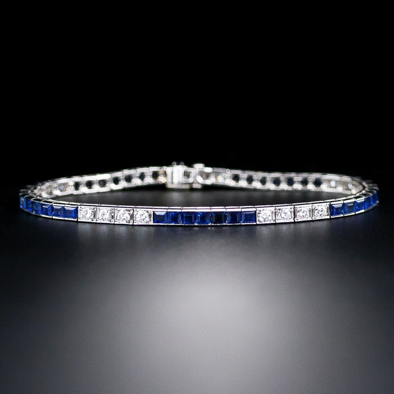 Tiffany & Co. Art Deco Diamond and Sapphire Line Bracelet 2