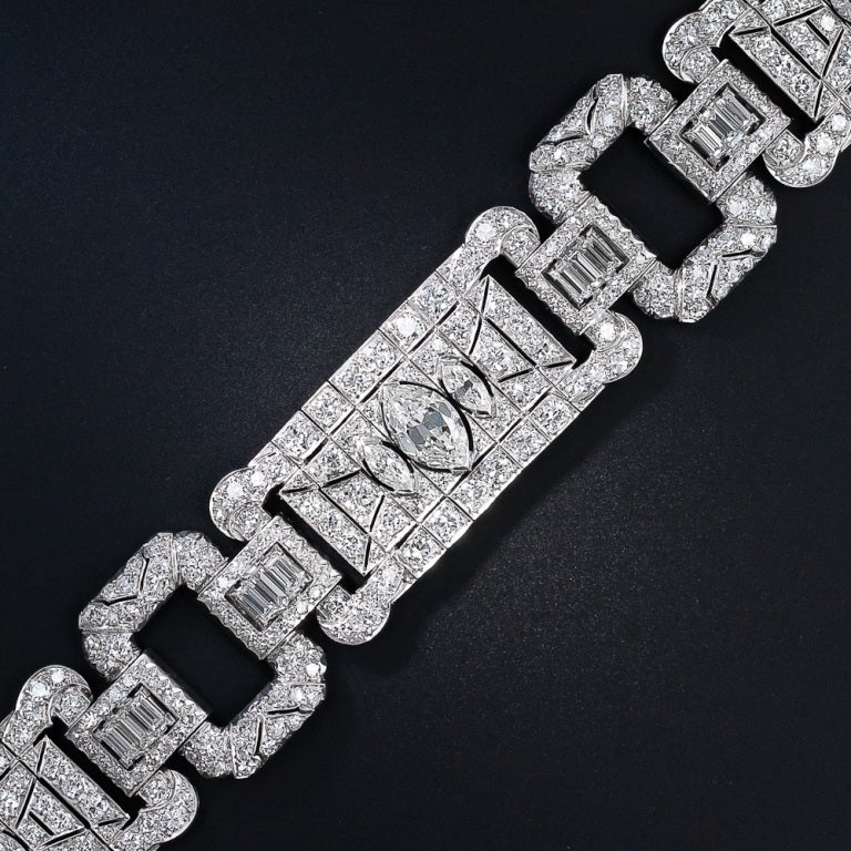 Wide Art Deco 16.65 Carat Diamond Bracelet 2