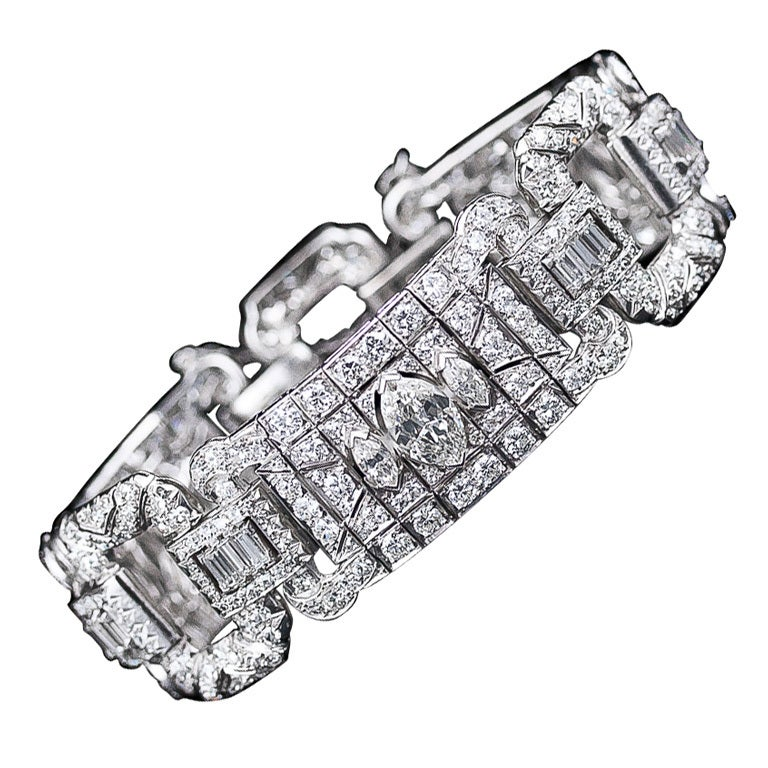 Wide Art Deco 16.65 Carat Diamond Bracelet 1