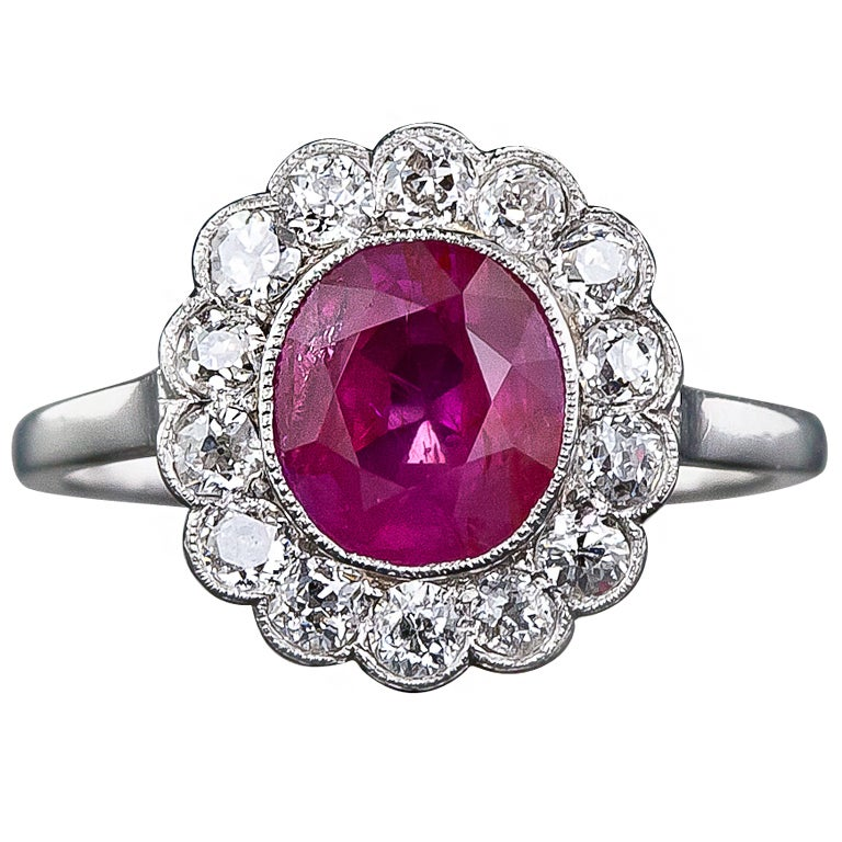Edwardian No Heat Burmese Ruby And Diamond Ring At 1stdibs