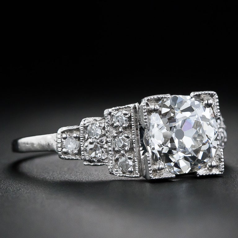 1 70 carat antique cushion cut engagement ring in platinum