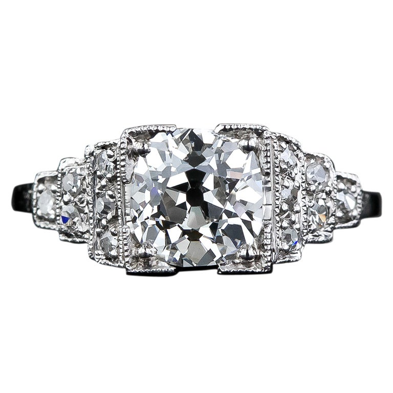 1 70 Carat Antique Cushion Cut Engagement Ring in Platinum at 1stdibs