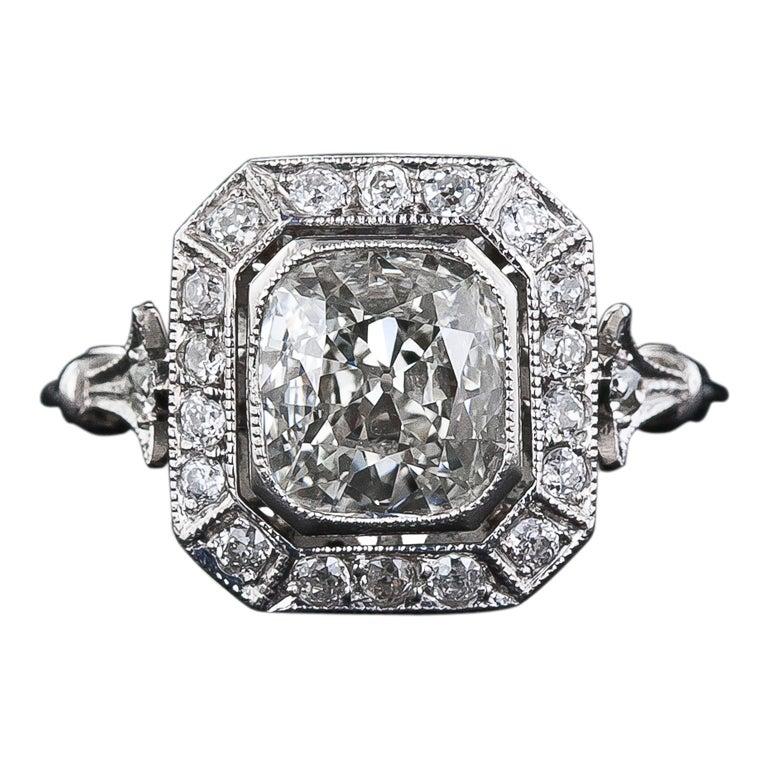 1 51 Carat Antique Style Cushion Cut Diamond Ring