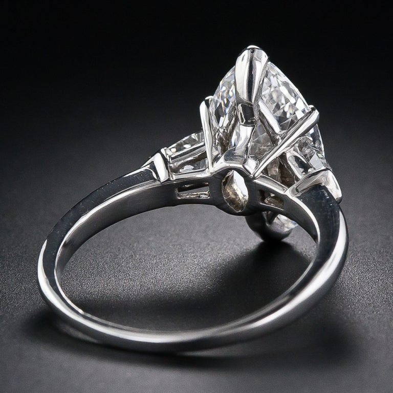 3.39 Carat GIA E /Internally Flawless Antique Marquise Diamond Ring 4