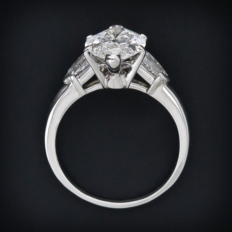 3.39 Carat GIA E /Internally Flawless Antique Marquise Diamond Ring 5