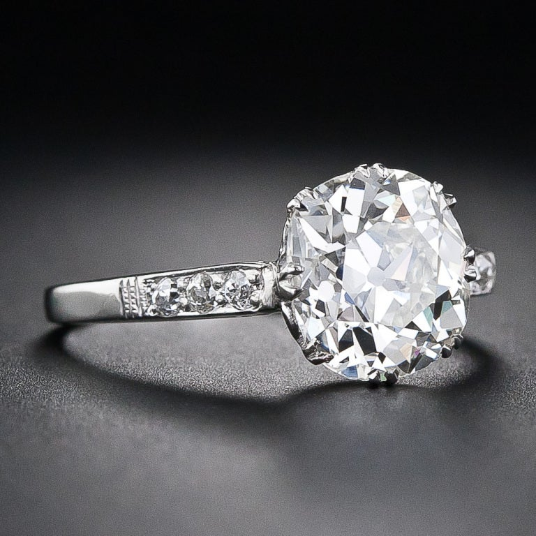 2.64 Carat Antique Cushion Cut Diamond Engagement Ring At